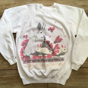 Vintage Rabbit Bunny 80s Sweatshirt Large